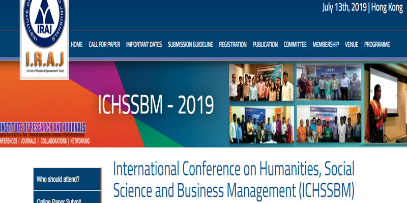 کنفرانس بینالمللی علوم انسانی، علوم اجتماعی و مدیریت بازرگانی (ICHSSBM)