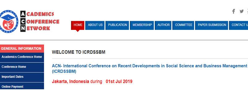 کنفرانس بینالمللی پیشرفتهای اخیر در علوم اجتماعی و مدیریت بازرگانی (ICRDSSBM)