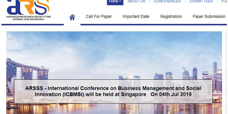 کنفرانس بین المللی مدیریت کسب و کار و نوآوری اجتماعی در سنگاپور