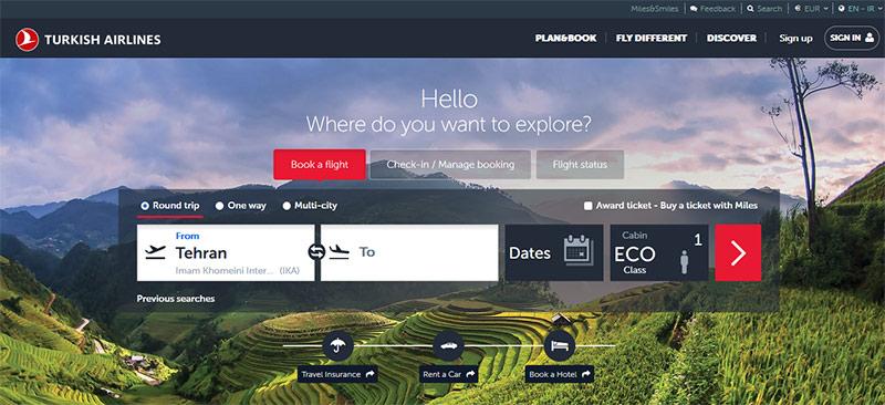 وب سایت هواپیمایی ترکیش